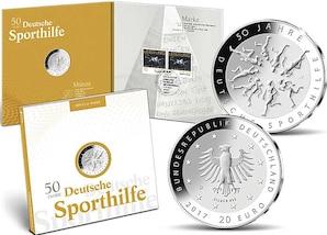 """Numisfolder Münze & Marke: """"50 Jahre Deutsche Sporthilfe"""""""