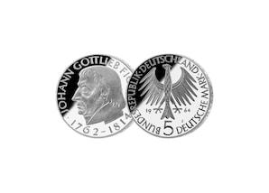 """5 DM Münze: """"150. Todestag Johann Gottlieb Fichte"""", 1964 (Spiegelglanz)"""