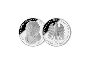 """5 DM Münze: """"150. Todestag Carl Reichsfreiherr vom und zum Stein"""", 1981 (Spiegelglanz)"""