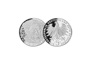 """5 DM Münze: """"500. Geburtstag Martin Luther"""", 1983 (Spiegelglanz)"""