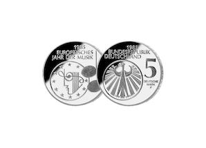 """5 DM Münze: """"Europäisches Jahr der Musik"""", 1985 (Spiegelglanz)"""