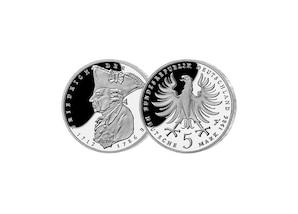 """5 DM Münze: """"200. Todestag von Friedrich dem Großen"""" , 1986 (Spiegelglanz)"""