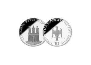 """10 DM Münze: """"800 Jahre Hafen und Hamburg"""", 1989 (Spiegelglanz)"""