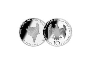 """10 DM Münze: """"50, Jahrstag des 20. Juli 1944"""", 1994 (Spiegelglanz)"""