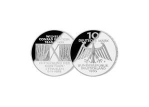 """10 DM Münze: """"150. Geburtstag von Wilhelm Conrad Röntgen"""", 1995 (Spiegelglanz)"""