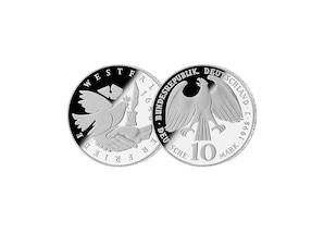 """10 DM Münze: """"350. Jahrestag des Westfälischen Friedens"""", 1998 (Spiegelglanz)"""