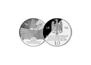 """10 DM Münze: """"300jähriges Bestehen der Frankeschen Stiftungen zu Halle"""", 1998 (Spiegelglanz)"""