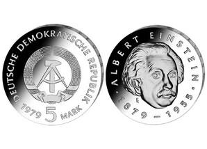 """DDR Münze: 5 Mark """"100. Geburtstag Albert Einstein"""", 1979 (Vorzüglich/Stempelglanz)"""