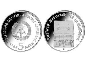 """DDR Münze: 5 Mark """"Luthers Geburtshaus"""", 1983  (Vorzüglich/Stempelglanz)"""