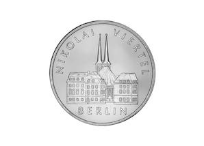 """DDR Münze: 5 Mark """"Nikolaiviertel in Berlin"""", 1987 (Vorzüglich/Stempelglanz)"""