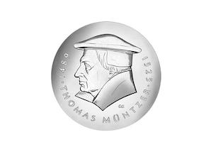 """DDR Münze: 20 Mark""""500. Geburtstag von Thomas Müntzer"""", 1989 (Vorzüglich/Stempelglanz)"""
