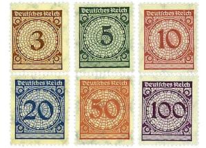 """Deutsches Reich, Weimarer Republik """"Erstausgabesatz nach der Währungsreform"""""""