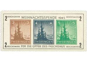 """Alliierte Besatzung, Sowjetische Zone, Thüringen """"Weihnachtsspende 1945"""", Blockausgabe"""
