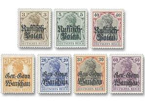 """Deutsche Besatzungsausgaben 1914/1918, Deutsche Post in Polen """"Germania""""-Freimarken"""