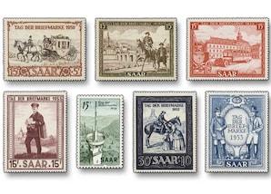 """Saarland """"Tag der Briefmarke, 1950-1956"""", Komplett-Sammlung"""