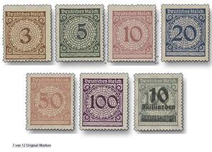 """Deutsches Reich, Weimarer Republik """"Die letzten Marken vor und die ersten nach der Währungsreform 1923"""""""