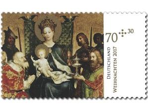 Die Aufwartung der Heiligen Drei Könige, Briefmarke zu 0,70 + 0,30€, 10er-Bogen