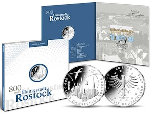 "Numisfolder Münze & Marke: ""800 Jahre Hansestadt Rostock"""